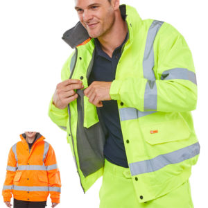 B-Seen Hi Vis Fleece Lined Bomber Jacket CBJFL