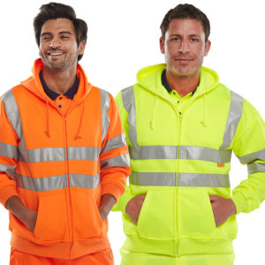 B-Seen Hi Vis Full Zip Hooded Sweatshirt BSHSSEN