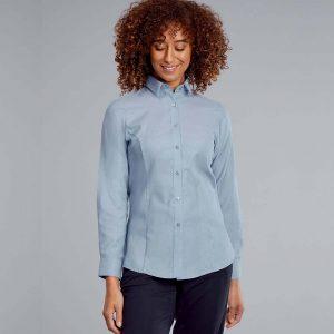 Disley Ladies Oxford Blouse Long Sleeves Light Blue