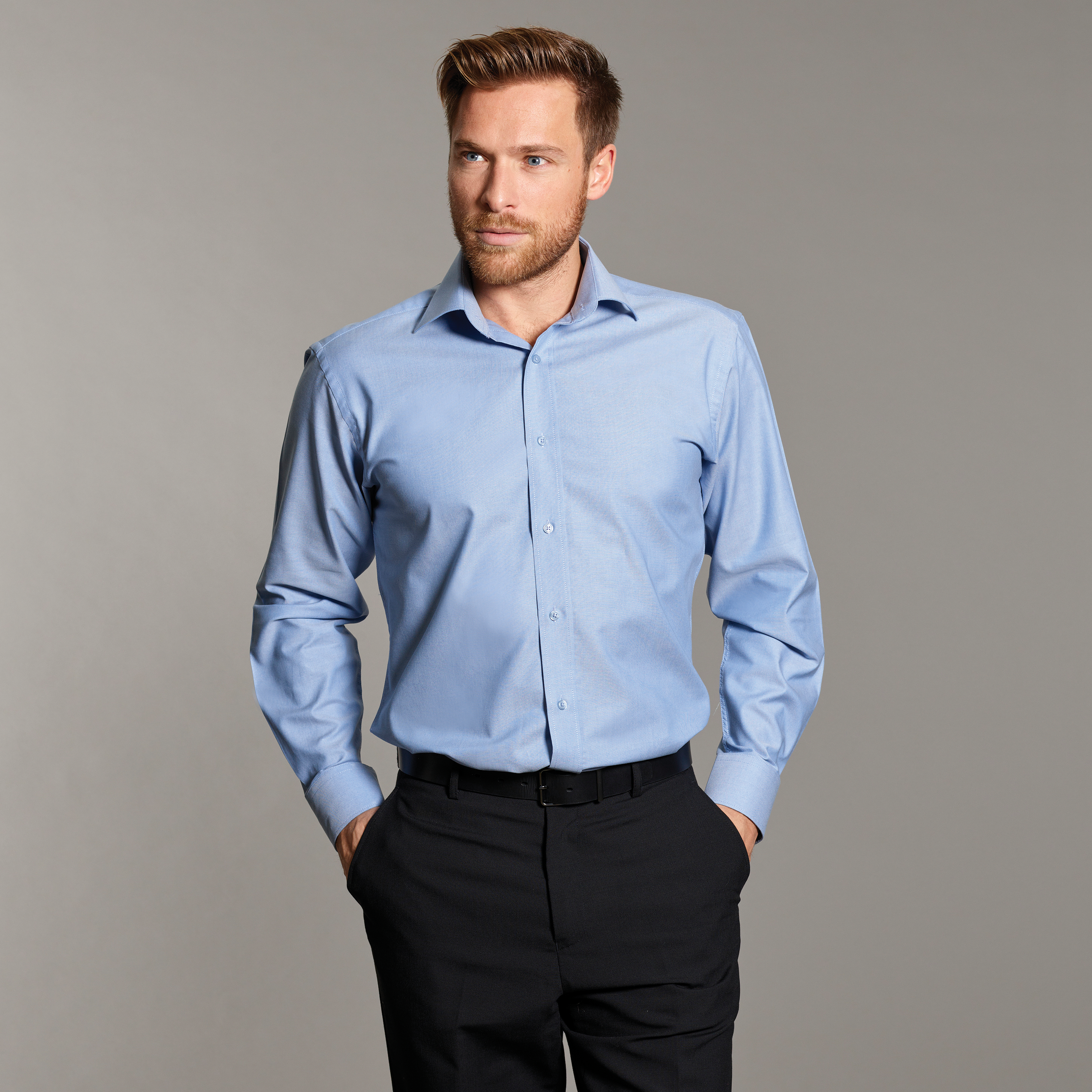Disley mens oxford shirt with button down collar ht hughes for Mens blue oxford shirt