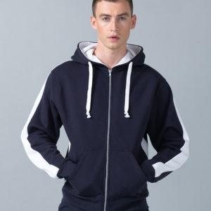 Finden & Hales Contrast Zip Hooded Sweatshirt LV330