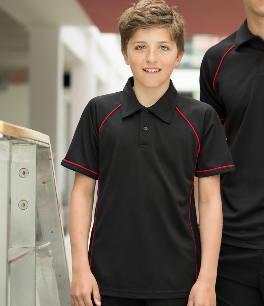 Finden hales kids performance piped polo shirt lv372 for Youth performance polo shirts