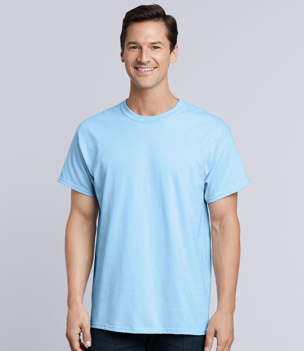 Gildan Mens Seamless Double Needle T-Shirt Blue Dusk