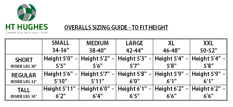 HT Hughes Size Guide
