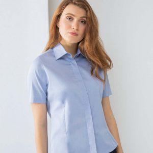 Henbury Ladies Short Sleeve Oxford Shirt H556