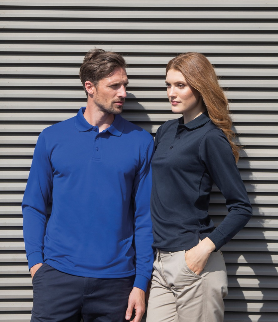 Henbury Long Sleeve Cotton Polo Shirt