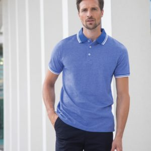 Henbury Two Tone Tipped Pique Polo Shirt H481
