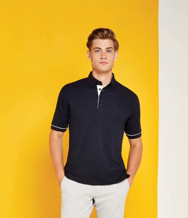 Kustom Kit Button Down Collar Contrast Pique Polo Shirt K449