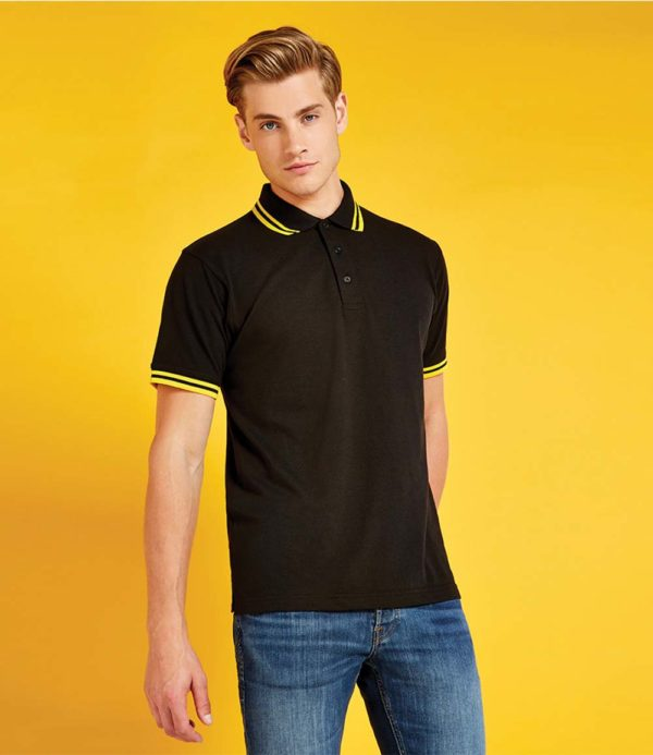 Kustom Kit Contrast Tipped Poly Cotton Pique Polo Shirt K409