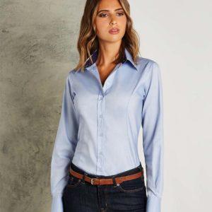 Kustom Kit Ladies Long Sleeve Contrast Premium Oxford Shirt K789