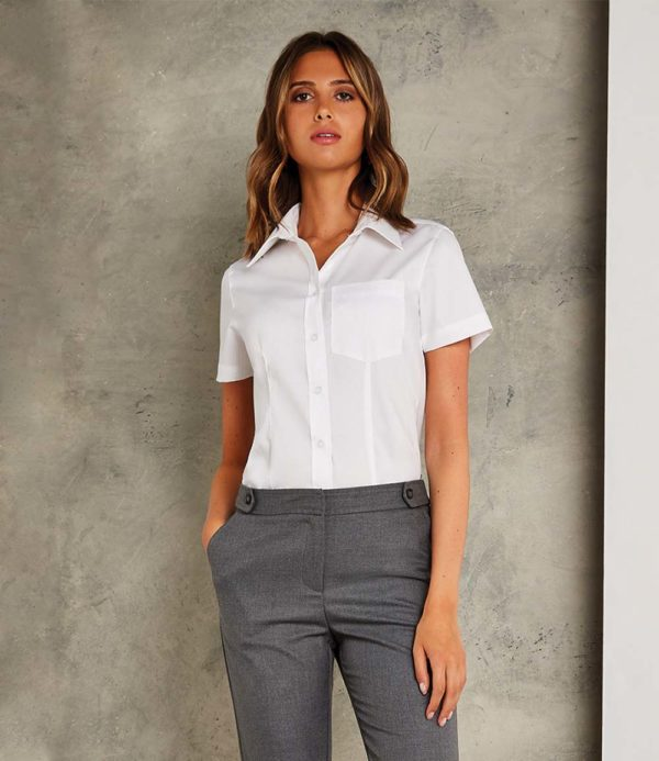 Kustom Kit Ladies Short Sleeve Corporate Oxford Shirt with Pocket K719