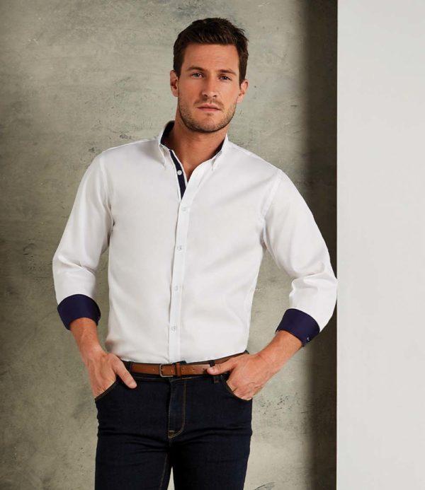Kustom Kit Long Sleeve Contrast Premium Oxford Button Collar Shirt K190