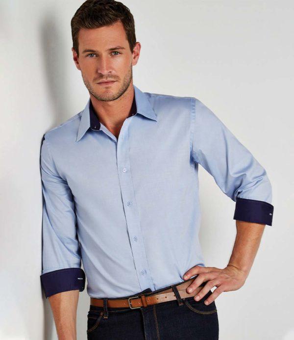 Kustom Kit Long Sleeve Contrast Premium Oxford Shirt K189