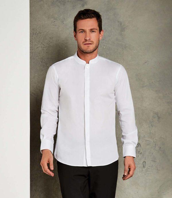 Kustom Kit Long Sleeve Mandarin Collar Shirt K161