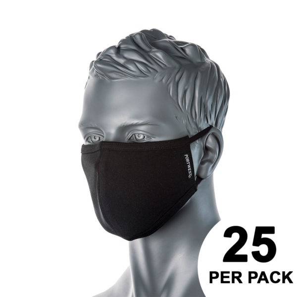 Portwest 2-Ply Anti-Microbial Fabric Face Mask CV22 Black