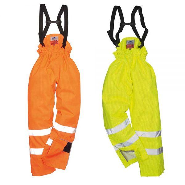 Portwest Bizflame Rain Hi-Vis Lined Anti-Static FR Trousers S781