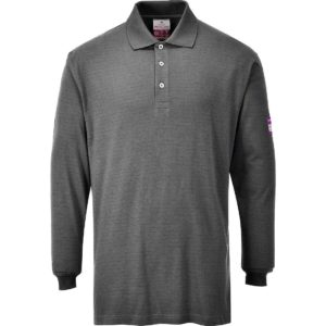 Portwest Flame Resistant Anti-Static Long Sleeve Polo Shirt FR10 Grey