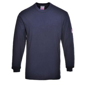 Portwest Flame Resistant Anti-Static Long Sleeve T-Shirt FR11 Navy Blue