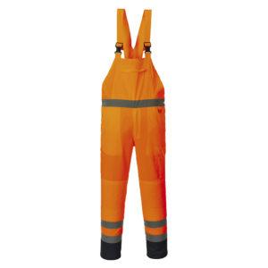 Portwest Hi-Vis Contrast Unlined Bib & Brace Overalls PJ52 Orange