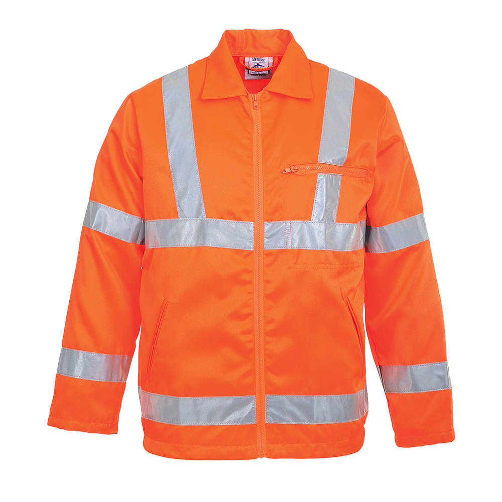 RT40 Hi-Vis GO/RT jacket for railway use, poly/cotton. Portwest