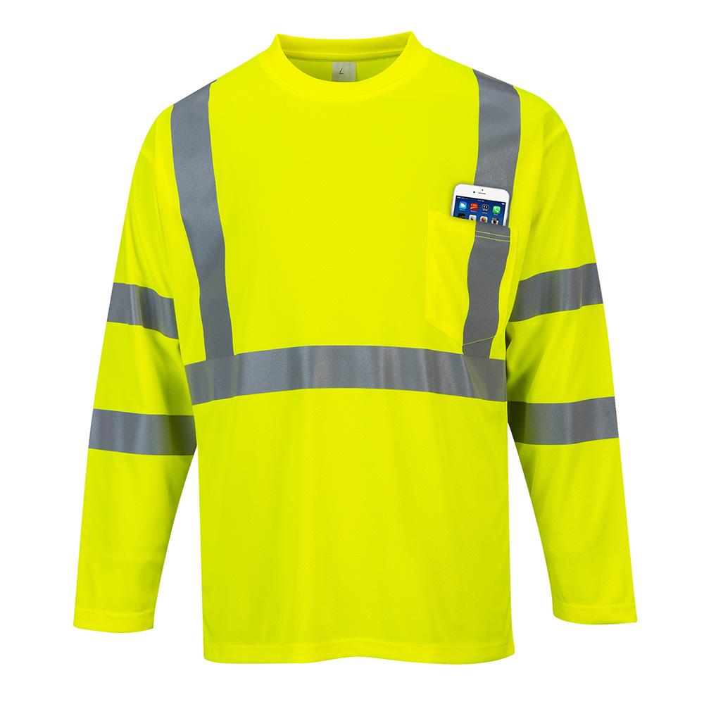 Portwest hi vis long sleeved pocket t shirt s191 for Hi vis polo shirts with pocket