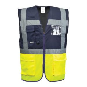 Portwest Hi-Vis Paris Executive 2-Tone Vest C276 Yellow/Navy