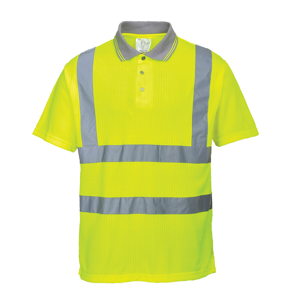 Portwest Hi-Vis Ribbed Polo Shirt S177 Yellow