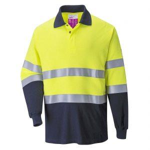 Portwest Hi-Vis Two-Tone Flame Resistant Anti-Static Polo Shirt FR74