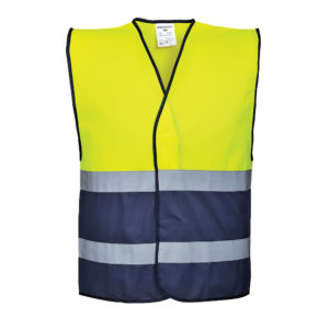 Portwest Hi-Vis Two Tone Vest C484 Yellow Navy Blue