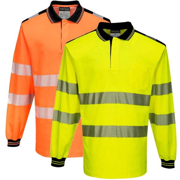 Portwest PW3 Hi-Vis Polo Shirt Long Sleeves
