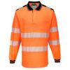 Portwest PW3 Hi-Vis Polo Shirt Long Sleeves Orange