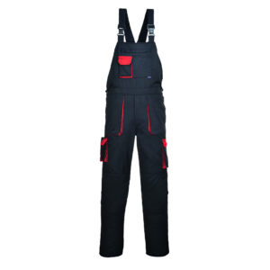 Texo Contrast Bib & Brace Overall TX12 Black Red Portwest