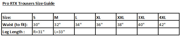Pro RTX Trousers Size Guide