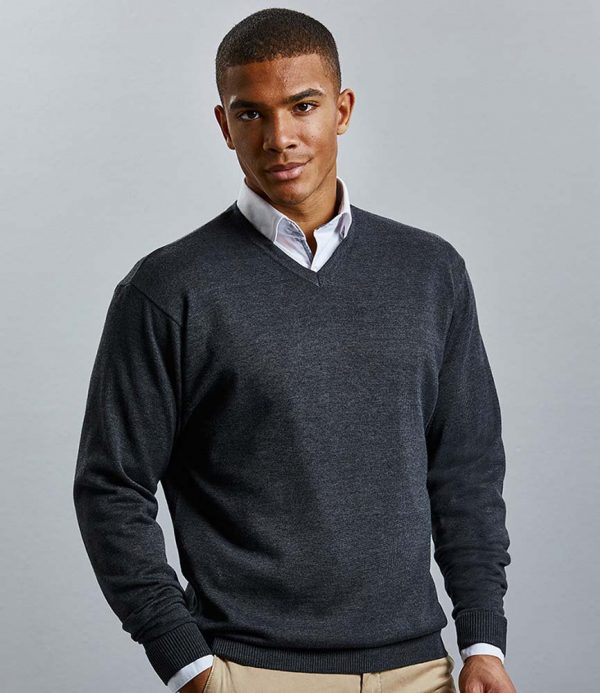 Russell Collection Cotton Acrylic V Neck Sweater 710M