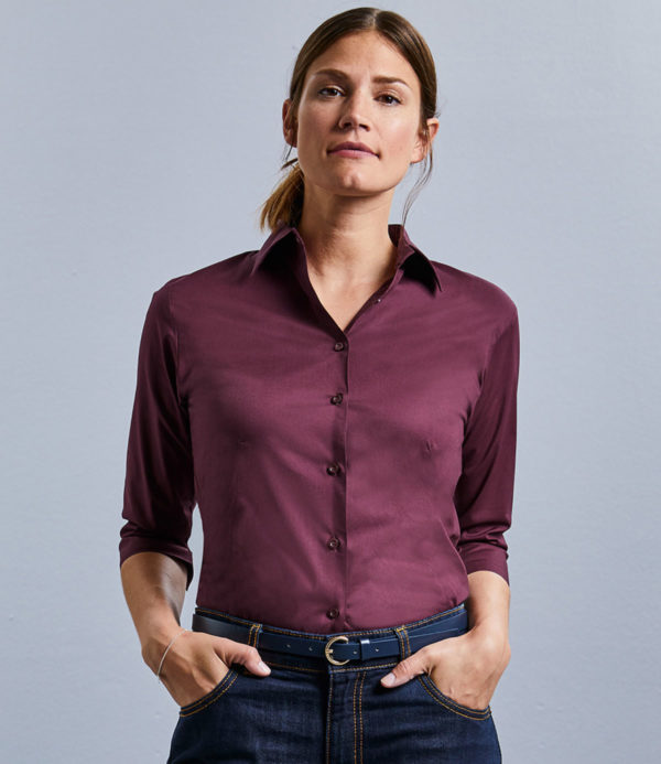 Russell Collection Ladies 3/4 Sleeve Easy Care Fitted Shirt 946F