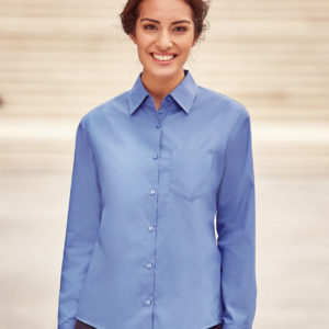 Russell Collection Ladies Long Sleeve Easy Care Cotton Poplin Shirt 936F