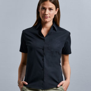 Russell Collection Ladies Short Sleeve Easy Care Cotton Poplin Shirt 937F