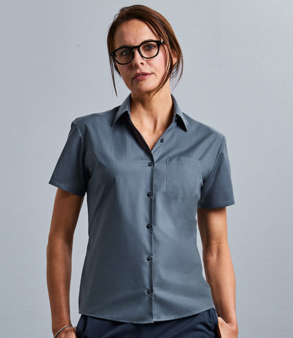 Russell Collection Ladies Short Sleeve Easy Care Poplin Shirt 935F