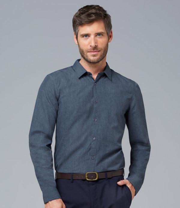 Barnet Long Sleeve Heather Poplin Shirt - 01428 SOLS