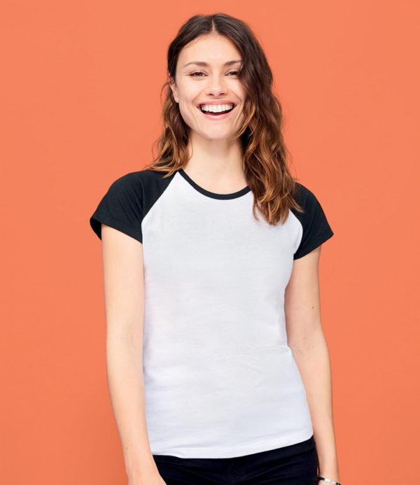SOLS Ladies Milky Contrast Baseball T-Shirt 11195