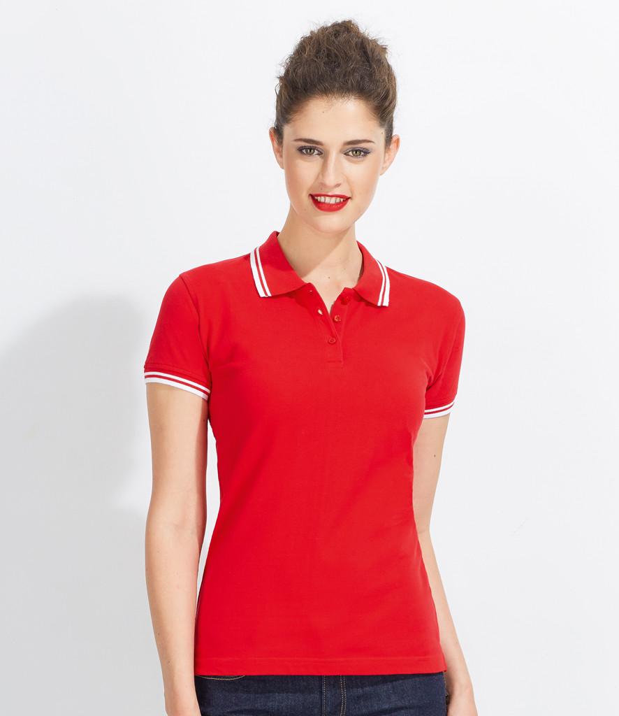5fb3939ebcf011 Ladies tipped Polo Shirt Pasadena 10578 SOLS