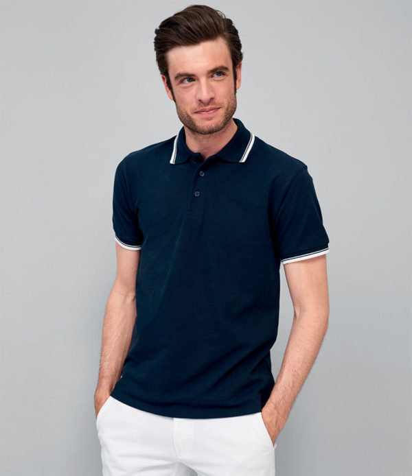 SOLS Practice Tipped Cotton Pique Polo Shirt 11365
