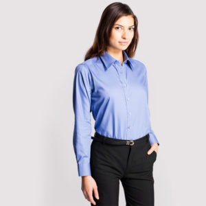 UNEEK LADIES PINPOINT OXFORD LONG SLEEVE SHIRT – UC703