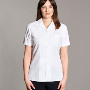 Williams Womens Revere Collar Blouse Short Sleeves