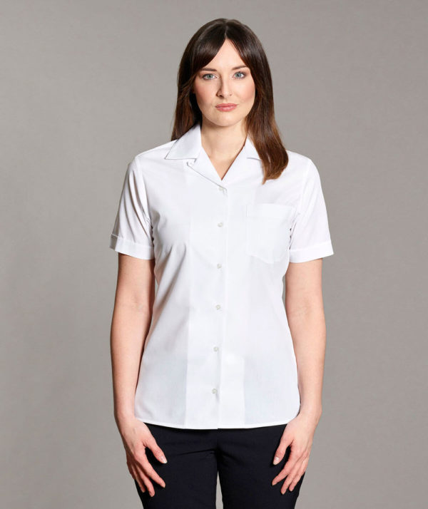 Williams Womens Revere Collar Blouse Short Sleeves