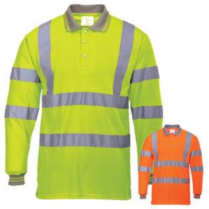 Portwest Hi-Vis Long Sleeved Polo Shirt S277