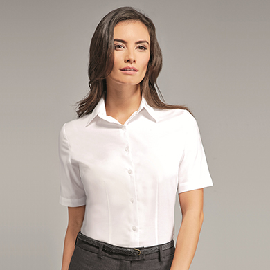 Disley Ladies Oxford Blouse Short Sleeves